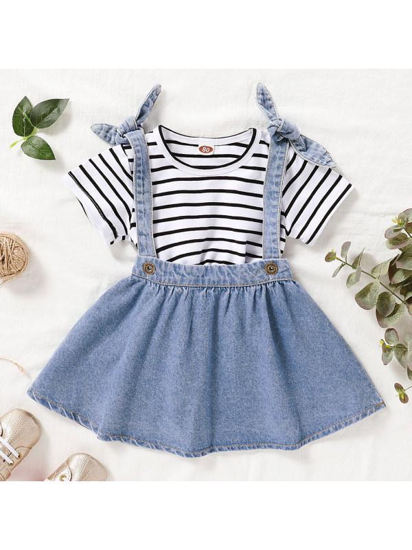 【12M-4Y】Cute Striped T-shirt and Blue Denim Skirt Set