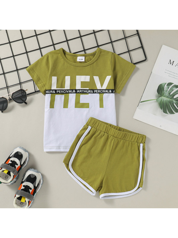 【18M-6Y】Summer Small And Medium-sized Boys Stitching Color Letter Printing Suit