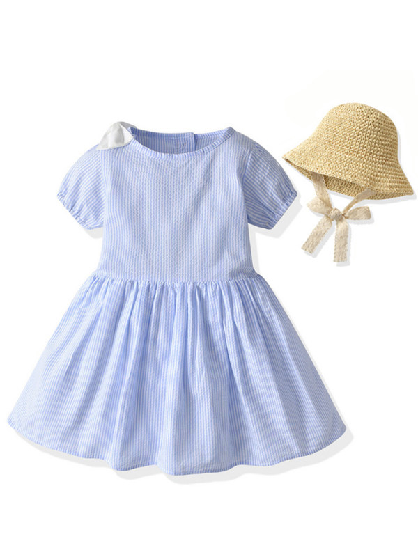 【12M-5Y】Girl Sweet Striped Short Sleeve Dress With Hat