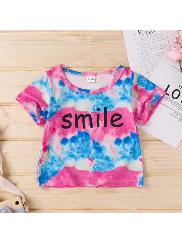 【3M-18M】Tie-dye Blouse With Letter Print For Girls