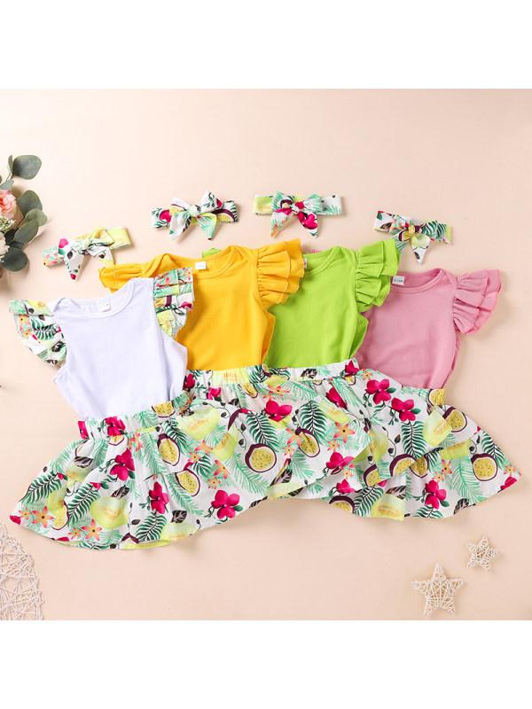 【0M-12M】Baby Print Romper Dress