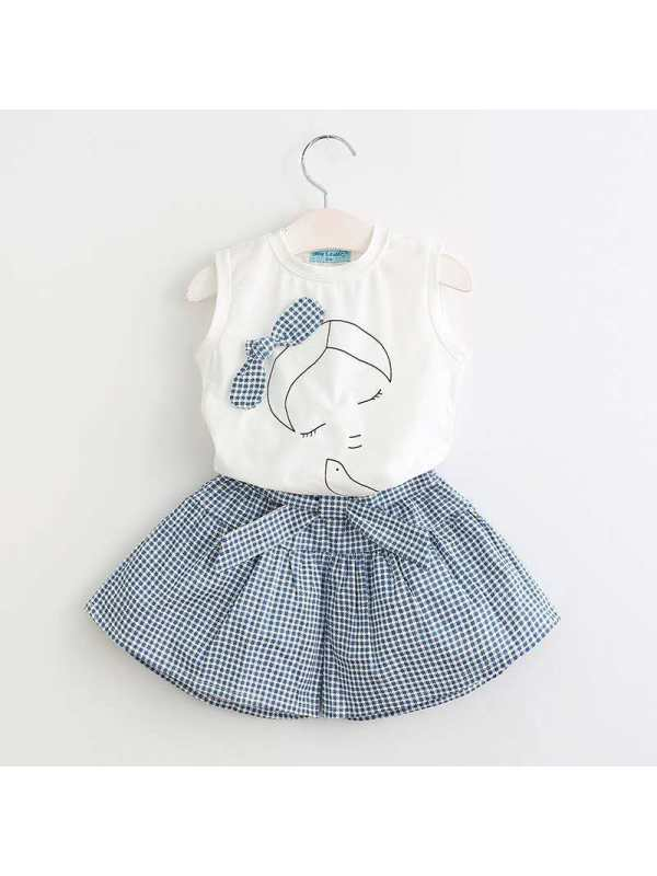 【18M-9Y】Girls Cartoon Print Sleeveless Top Culottes Two-Piece Suit