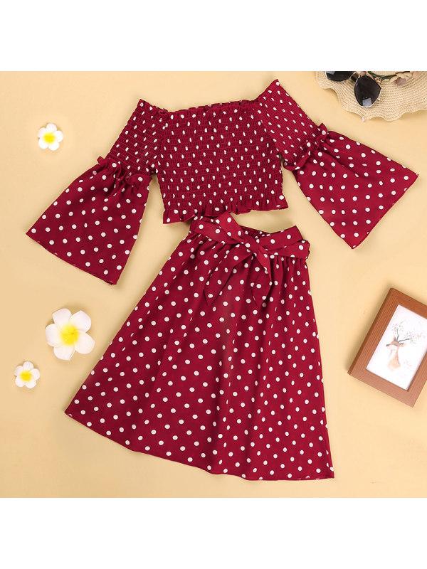 【3Y-11Y】Girls Polka Dot Long-Sleeved Top Skirt Suit