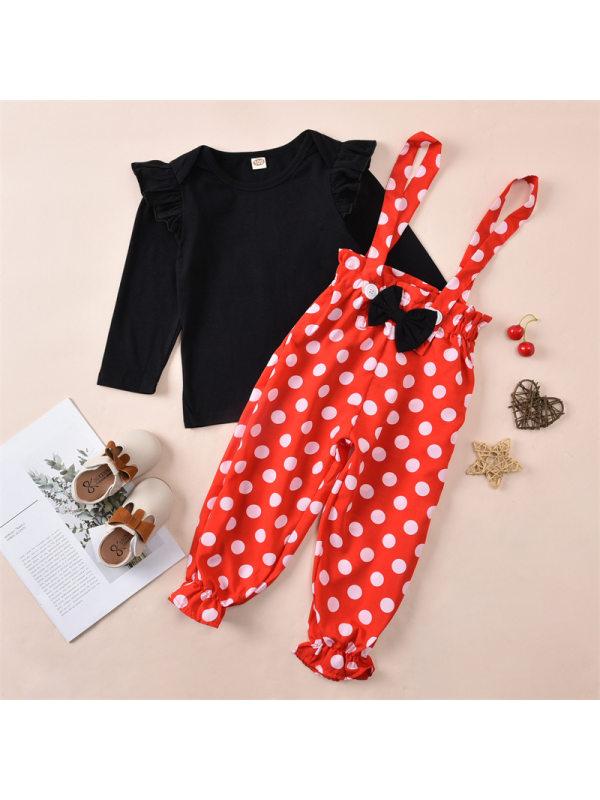 【12M-5Y】Girls Polka Dot Bib Pants Solid Color Flying Sleeve Long Sleeve T-Shirt Set