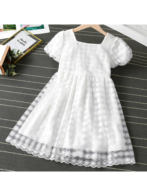 【2Y-11Y】Girl Sweet White Lace Short Sleeve Dress
