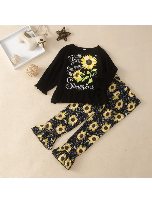 【18M-6Y】Little Girl Letter Sunflower Print T-shirt And Pants Suit