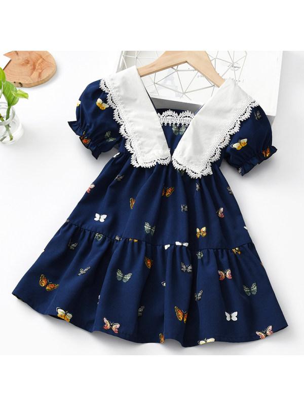 【18M-7Y】Girls Sweet Navy Blue Butterfly Pattern Short-sleeved Dress
