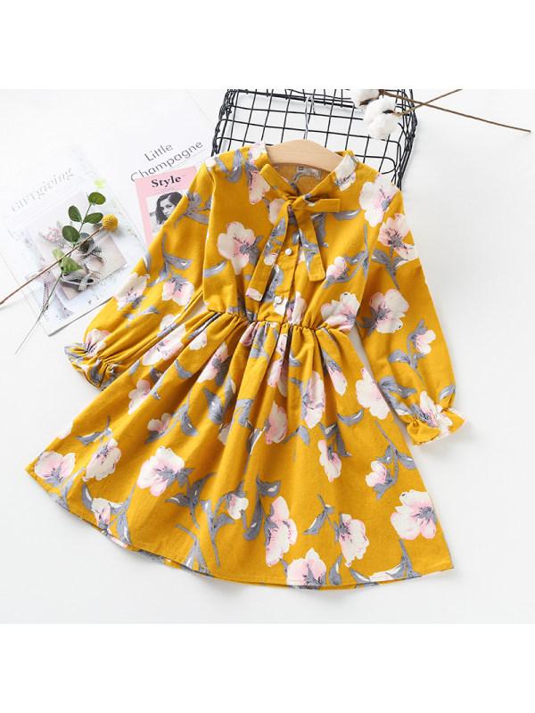 【3Y-13Y】Girls Long Sleeve Floral Bow Dress