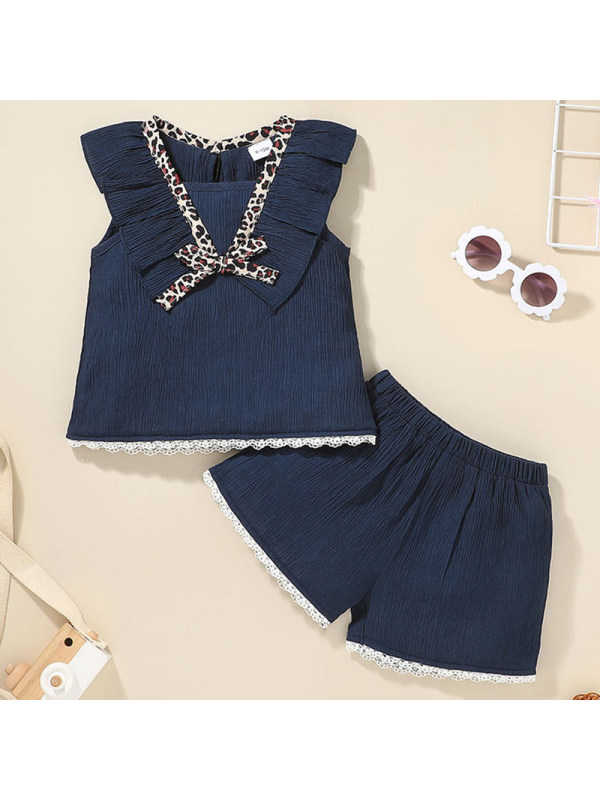【6M-24M】Baby Girl Sweet Navy Blue T-shirt Shorts Set