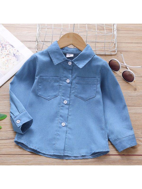 【18M-7Y】Boy Fashion Letter Pattern Denim Shirt