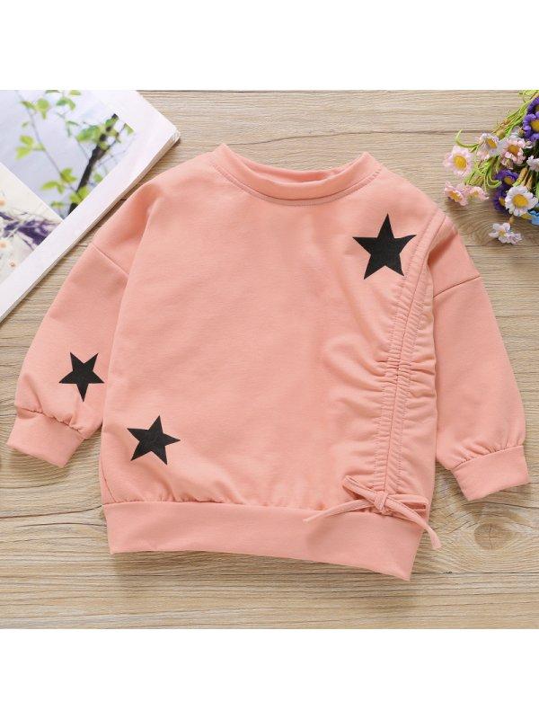 【18M-7Y】Girls Sweet Pink Star Pattern Long Sleeve Sweatshirt