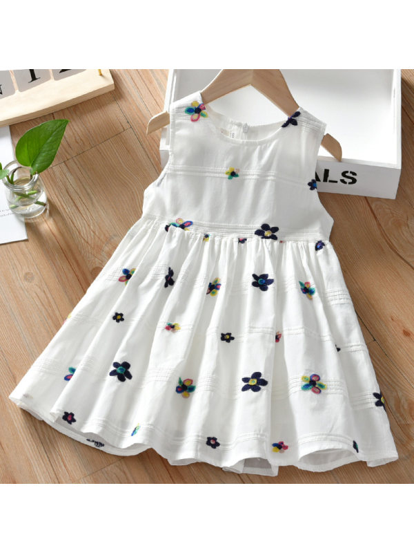 【18M-7Y】Girls Sweet Embroidered Sleeveless Dress