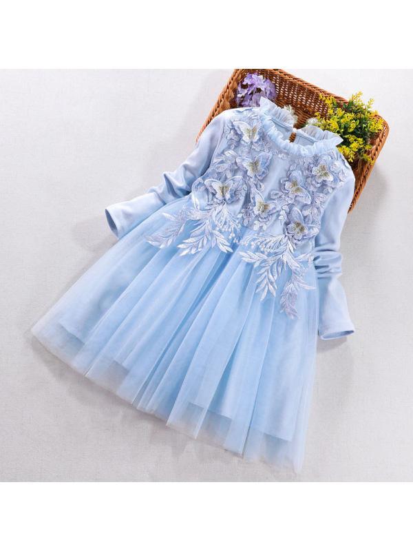 【3Y-11Y】Big Girl's Cotton Net Yarn Stitching Dress