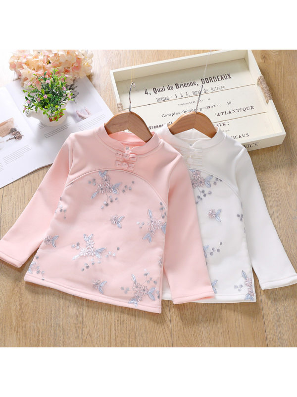 【3Y-11Y】Big Girl's Stand-up Collar Long-sleeved Lace Stitching Long-sleeved T-shirt