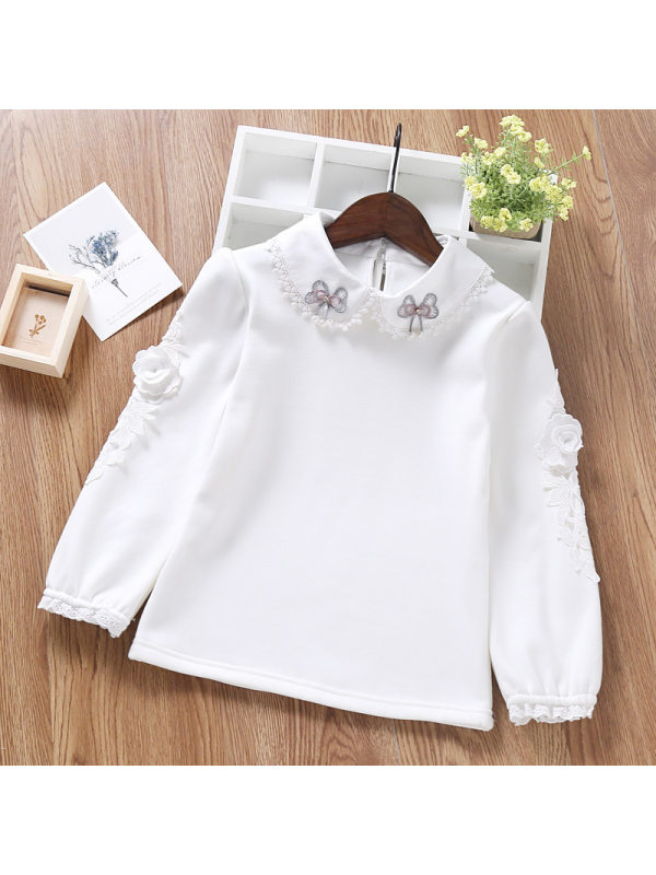 【3Y-11Y】Big Girl White Long-sleeved Cotton Lapel Bottoming Shirt