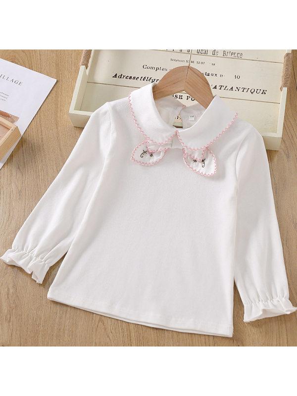 【3Y-11Y】Big Girl's Cotton Long-sleeved Cute Lapel T-shirt