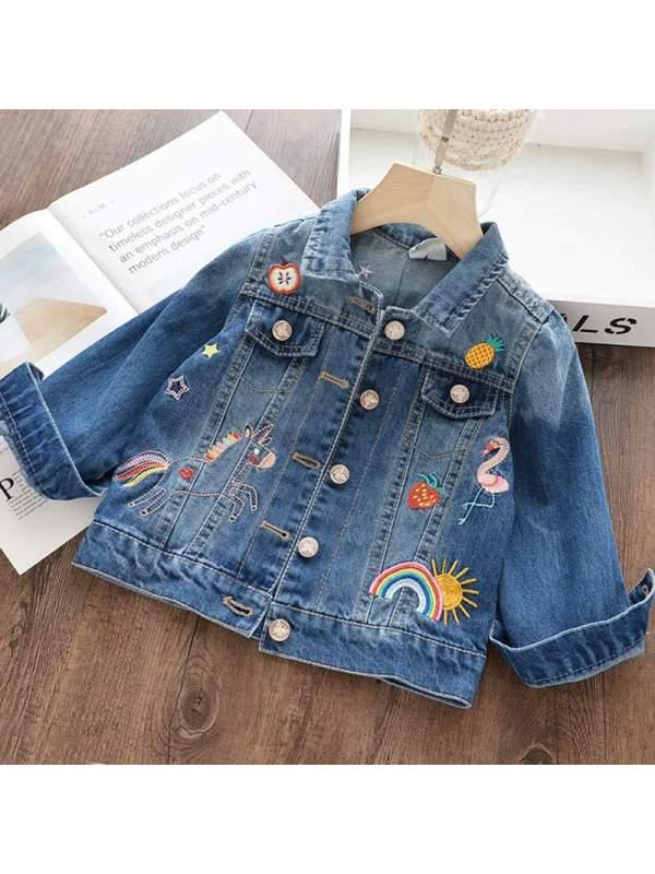 【2Y-11Y】Girls Graffiti Embroidery Denim Short Jacket