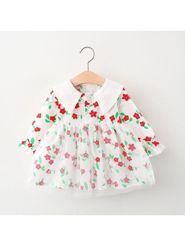 【12M-4Y】Girls' Long Sleeve Printed Mesh Dress