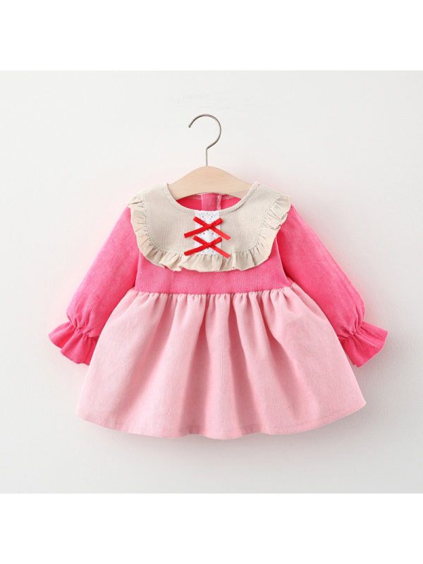 【9M-3Y】Long-sleeved Corduroy Dress For Girls