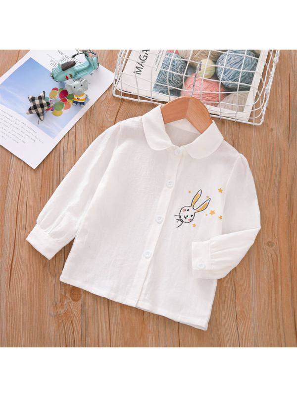 【18M-7Y】Girls' Cotton Cartoon-print Single-breasted Long-sleeved Shirt