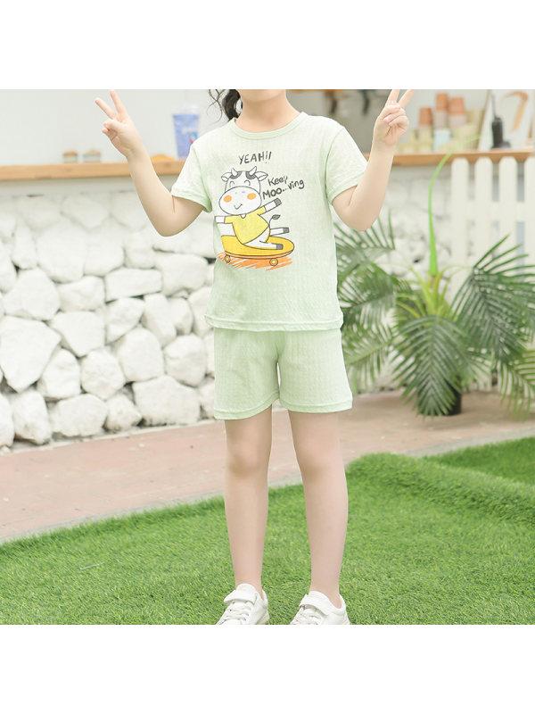 【2Y-11Y】Girls Cotton Summer Thin Round Neck Short Sleeve Pajama Pants Set Home Service Basic Style