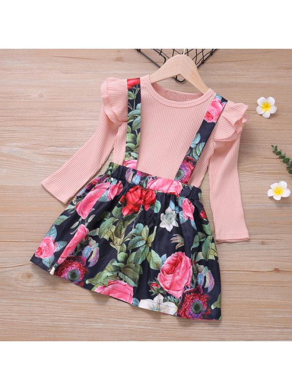 【18M-7Y】Girls Ruffled Long Sleeve Top Printed Strap Dress Set