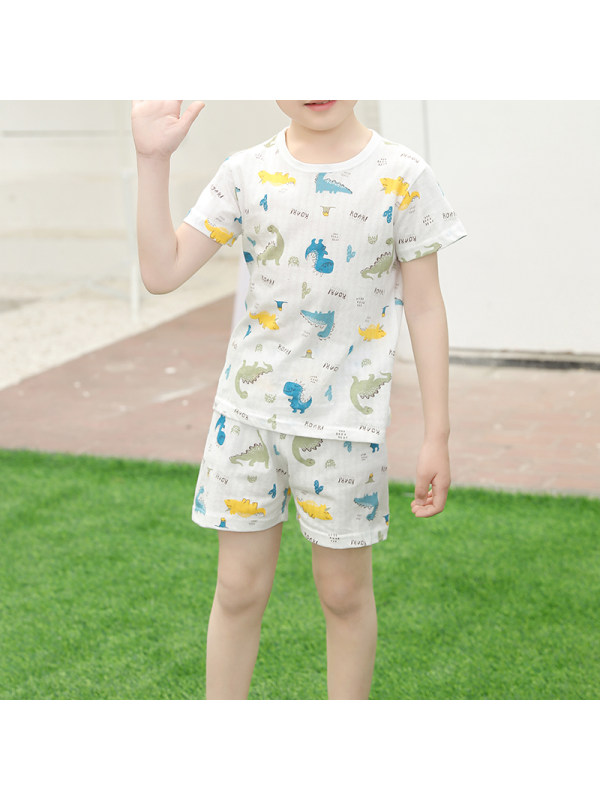 【2Y-11Y】Boys Short-sleeved Summer Thin Pajama Suit Home Service Basic