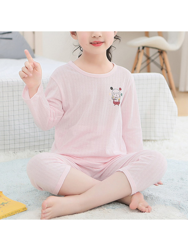 【2Y-13Y】Girls Pure Cotton Spring And Autumn New Round Neck Suit Cartoon Home Service Basic Style