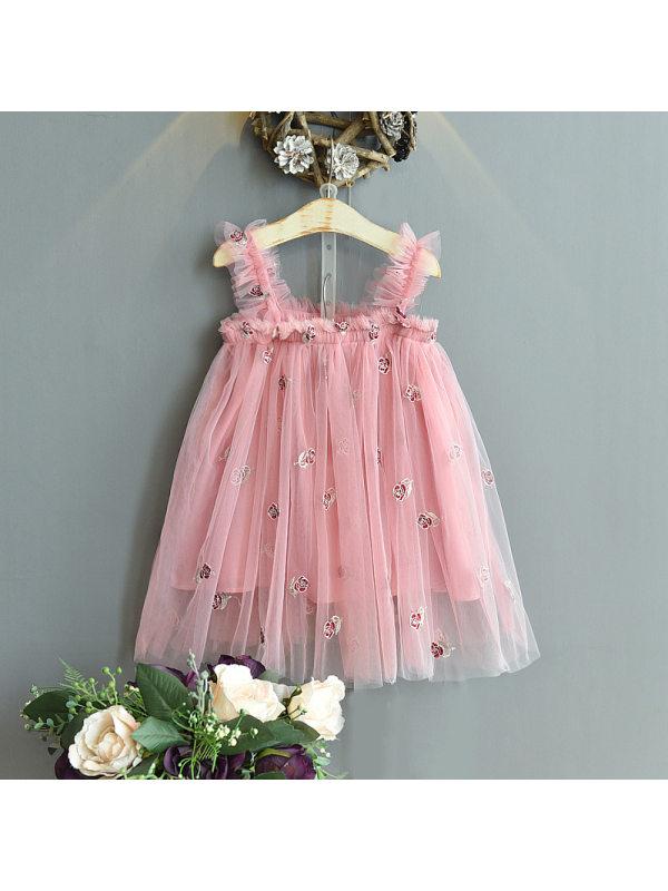 【18M-7Y】Girls' Pleated Net Yarn Princess Suspender Dress