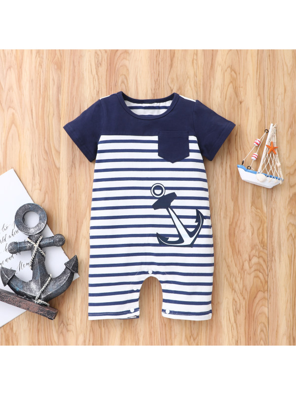 【6M-24M】Infant Short-sleeved Striped One-piece Romper
