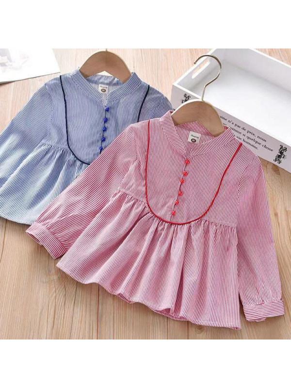 【18M-7Y】 Girl Sweet Striped Long Sleeve Shirt
