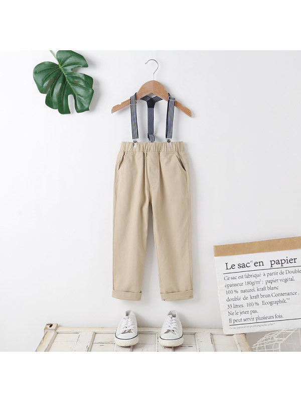 【18M-7Y】Boys' College Style Casual Suspender Trousers