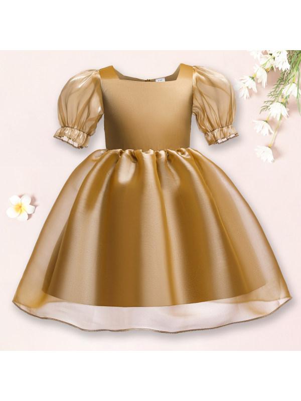 【18M-10Y】Sweet Puff Sleeve Golden Princess Dress
