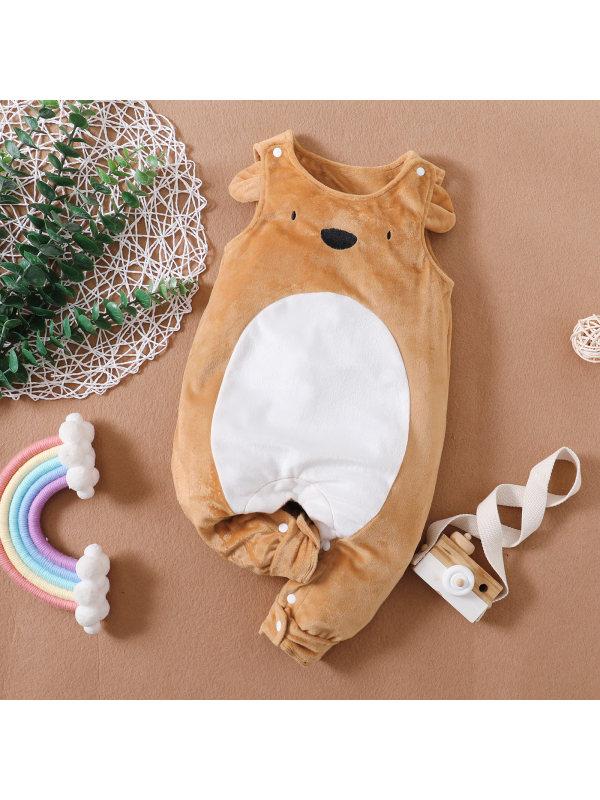 【0M-18M】Cute Cartoon Bear Embroidery Sleeveless Romper