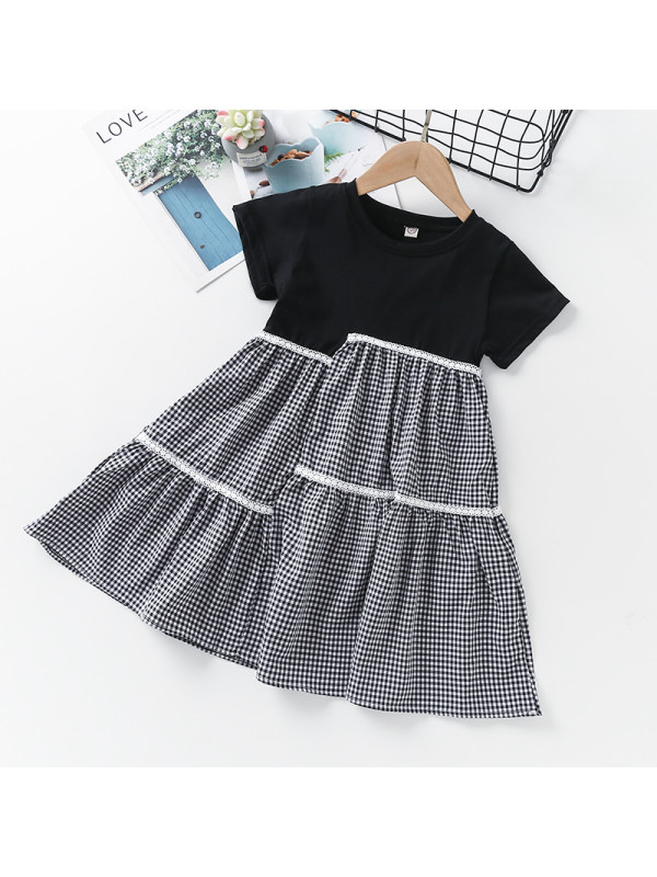 【4Y-13Y】Girls Round Neck Short Sleeve Plaid Stitching Dress
