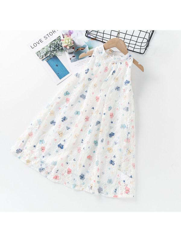 【3Y-13Y】Girls Halterneck Sleeveless Butterfly Lace Dress