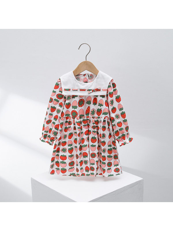 【2Y-7Y】Girl's Navy Collar Strawberry Print Long Sleeve Dress
