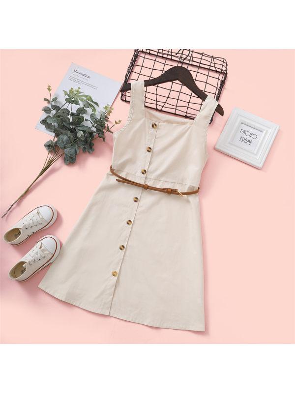【3Y-11Y】Big Girl's Cotton Retro Square-neck Dress