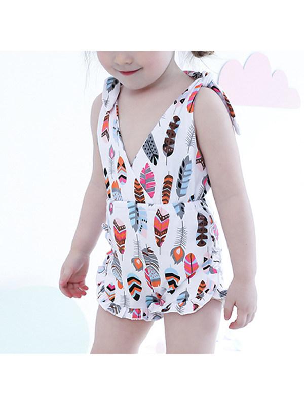 【18M-5Y】Girls' Beach Jumpsuit With Suspenders