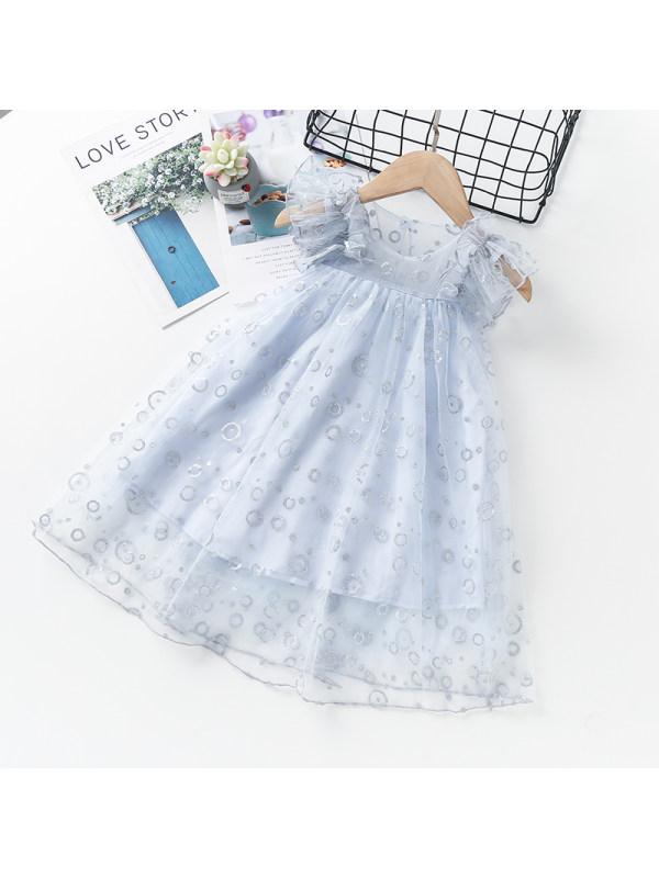 【3Y-11Y】Girls Round Neck Flying Sleeves Net Yarn Hot Silver Dress