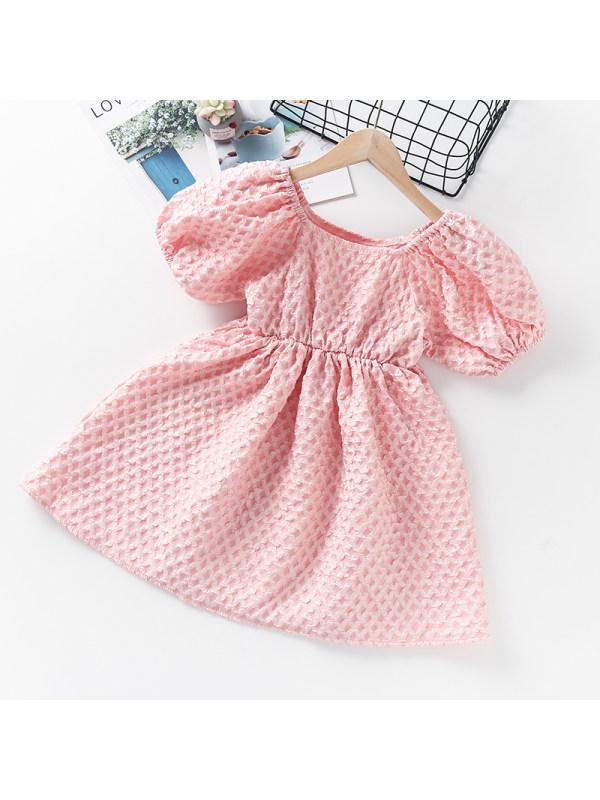 【3Y-13Y】Girls Square Neck Puff Sleeve Dress