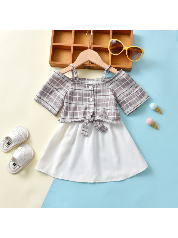 【18M-7Y】Girl Plaid Pattern Shirt And Skirt Suit