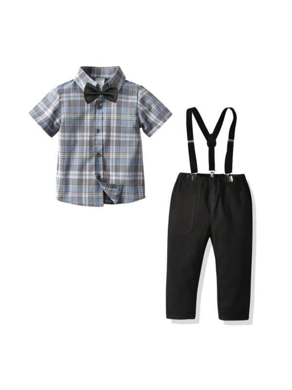 【12M-7Y】Boys' Plaid Short-sleeved Shirt Suspenders Trousers Gentleman Suit