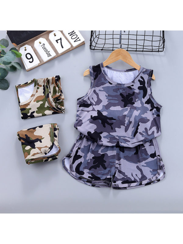 【2Y-11Y】Boys Vest And Shorts Camouflage Mesh Casual Suit