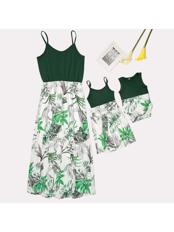 Floral Print Suspenders Mom Girl Matching Dress