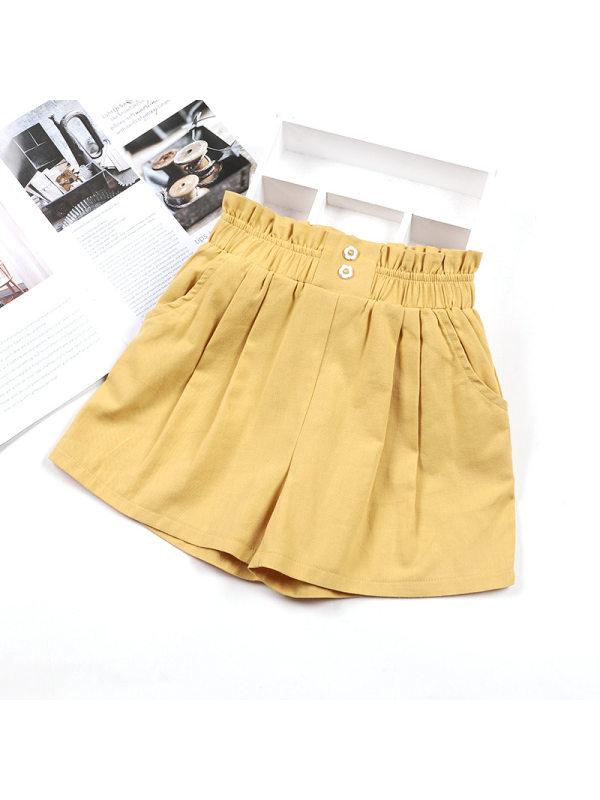【3Y-13Y】Girls Casual Loose Solid Color Shorts