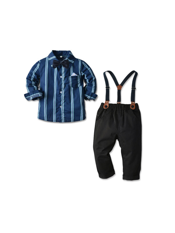 【12M-7Y】Boys' Long-sleeved Striped Shirt and Suspenders Trousers Gentleman Two-piece Suit