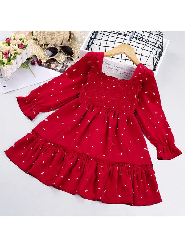 【3Y-11Y】Girls Polka Dot Long Sleeve Dress