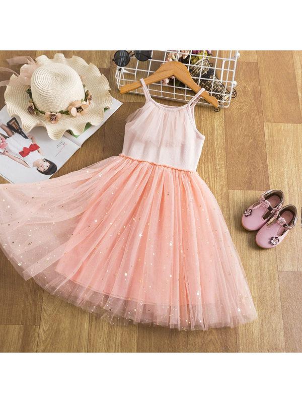 【2Y-9Y】Girls Sling Starry Mesh Stitching Dress