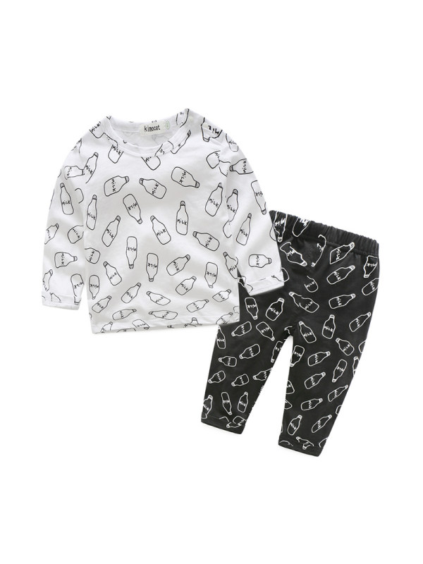 【6M-3Y】Infant Feeding Bottle Printing Long-sleeved Two-piece Suit
